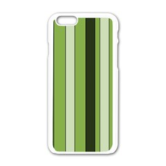 Greenery Stripes Pattern 8000 Vertical Stripe Shades Of Spring Green Color Apple Iphone 6/6s White Enamel Case by yoursparklingshop