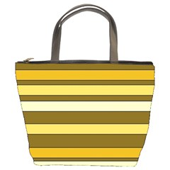 Elegant Shades Of Primrose Yellow Brown Orange Stripes Pattern Bucket Bags by yoursparklingshop