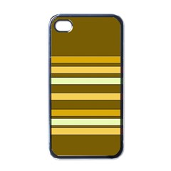 Elegant Shades Of Primrose Yellow Brown Orange Stripes Pattern Apple Iphone 4 Case (black) by yoursparklingshop