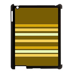 Elegant Shades Of Primrose Yellow Brown Orange Stripes Pattern Apple Ipad 3/4 Case (black) by yoursparklingshop