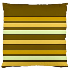 Elegant Shades Of Primrose Yellow Brown Orange Stripes Pattern Large Flano Cushion Case (two Sides) by yoursparklingshop