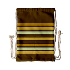 Elegant Shades Of Primrose Yellow Brown Orange Stripes Pattern Drawstring Bag (small) by yoursparklingshop