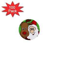Rudolph And Santa Selfie 1  Mini Buttons (100 Pack)  by Valentinaart