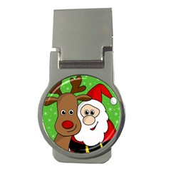 Rudolph And Santa Selfie Money Clips (round)  by Valentinaart