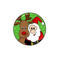Rudolph And Santa Selfie Hat Clip Ball Marker (4 Pack) by Valentinaart
