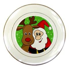 Rudolph And Santa Selfie Porcelain Plates by Valentinaart
