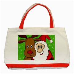 Rudolph And Santa Selfie Classic Tote Bag (red) by Valentinaart