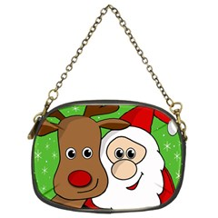 Rudolph And Santa Selfie Chain Purses (two Sides)  by Valentinaart