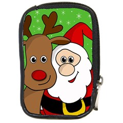 Rudolph And Santa Selfie Compact Camera Cases by Valentinaart