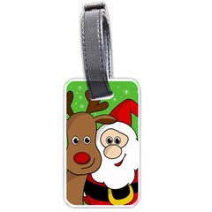 Rudolph And Santa Selfie Luggage Tags (one Side)  by Valentinaart