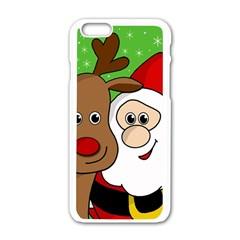 Rudolph And Santa Selfie Apple Iphone 6/6s White Enamel Case by Valentinaart
