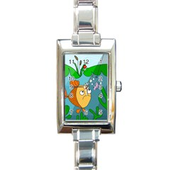 Fish And Worm Rectangle Italian Charm Watch by Valentinaart