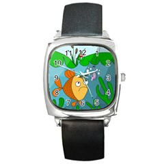 Fish And Worm Square Metal Watch by Valentinaart