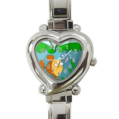 Fish And Worm Heart Italian Charm Watch by Valentinaart