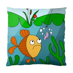 Fish And Worm Standard Cushion Case (two Sides) by Valentinaart