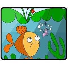 Fish And Worm Double Sided Fleece Blanket (medium)  by Valentinaart