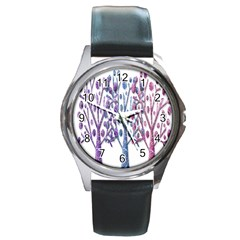 Magical Pastel Trees Round Metal Watch by Valentinaart