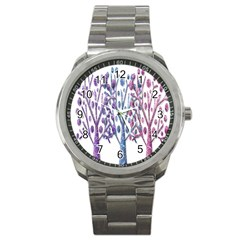 Magical Pastel Trees Sport Metal Watch by Valentinaart