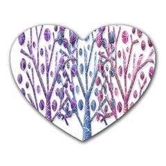 Magical Pastel Trees Heart Mousepads by Valentinaart