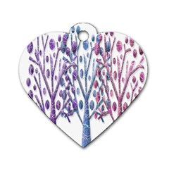 Magical Pastel Trees Dog Tag Heart (two Sides) by Valentinaart