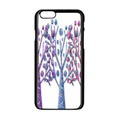 Magical Pastel Trees Apple Iphone 6/6s Black Enamel Case by Valentinaart