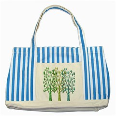 Magical Green Trees Striped Blue Tote Bag by Valentinaart