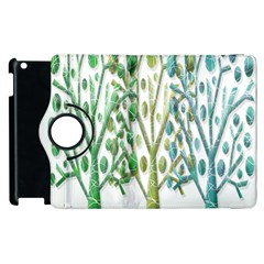 Magical Green Trees Apple Ipad 2 Flip 360 Case by Valentinaart