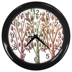 Magical Autumn Trees Wall Clocks (black) by Valentinaart