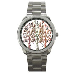 Magical Autumn Trees Sport Metal Watch by Valentinaart