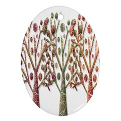 Magical Autumn Trees Oval Ornament (two Sides) by Valentinaart