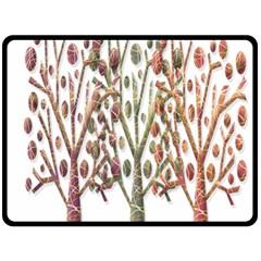 Magical Autumn Trees Fleece Blanket (large)  by Valentinaart