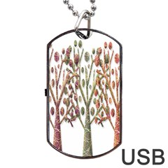Magical Autumn Trees Dog Tag Usb Flash (two Sides)  by Valentinaart