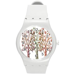 Magical Autumn Trees Round Plastic Sport Watch (m) by Valentinaart
