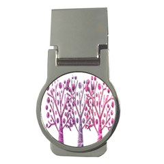 Magical Pink Trees Money Clips (round)  by Valentinaart
