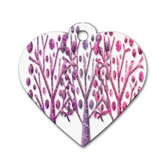 Magical Pink Trees Dog Tag Heart (two Sides) by Valentinaart