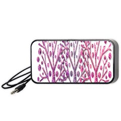 Magical Pink Trees Portable Speaker (black)  by Valentinaart