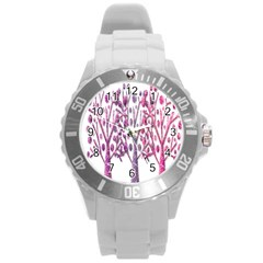 Magical Pink Trees Round Plastic Sport Watch (l) by Valentinaart