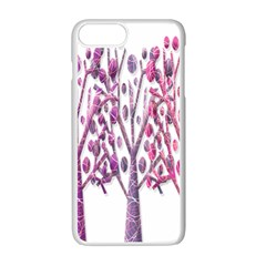 Magical pink trees Apple iPhone 7 Plus White Seamless Case by Valentinaart