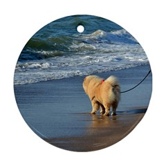 Chow Chow On Beach Round Ornament (Two Sides)