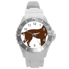 Labrador Retriever Choco Color Silo Round Plastic Sport Watch (L) by TailWags