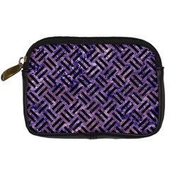 Woven2 Black Marble & Purple Marble (r) Digital Camera Leather Case by trendistuff
