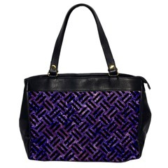 Woven2 Black Marble & Purple Marble (r) Oversize Office Handbag by trendistuff
