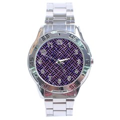 Woven2 Black Marble & Purple Marble (r) Stainless Steel Analogue Watch by trendistuff