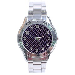 Woven2 Black Marble & Purple Marble Stainless Steel Analogue Watch by trendistuff