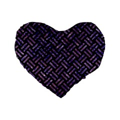 Woven2 Black Marble & Purple Marble Standard 16  Premium Flano Heart Shape Cushion  by trendistuff