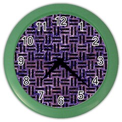 Woven1 Black Marble & Purple Marble (r) Color Wall Clock by trendistuff
