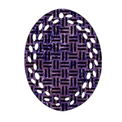Woven1 Black Marble & Purple Marble (r) Ornament (oval Filigree)