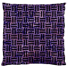 Woven1 Black Marble & Purple Marble (r) Large Cushion Case (two Sides) by trendistuff