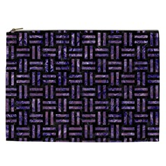 Woven1 Black Marble & Purple Marble Cosmetic Bag (xxl) by trendistuff