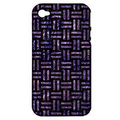 Woven1 Black Marble & Purple Marble Apple Iphone 4/4s Hardshell Case (pc+silicone) by trendistuff